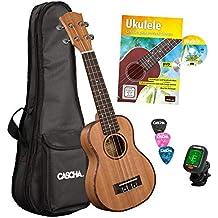 CASCHA Premium Mahagoni Sopran Ukulele Set, kleine Hawaii Gitarre, Einsteiger Ukulele mit Lehrbuch, Stimmgerät, Aquila-Saiten, Ukulele Tasche, 3 Plektren