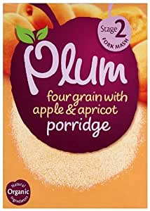 Plum Baby Organic Stage 2 Four Grain with Apple and Apricot Porridge 175 g (Pack of 4)