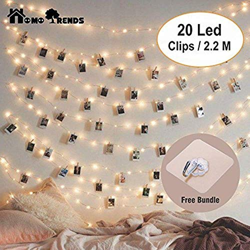 Photo Clips Led 20 Pack with String Rope free as a Gift | Led Art clips Best for Photos, Cards, Memos, Art Work & Birthday Parties by Homo Trends.