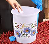 #5: Kuber Industries Floral Design Plastic Dustbin, Small, Blue