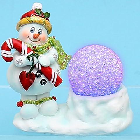 Süßer Poly. Schneemann Bob mit verzaubernder Schneeball LED Kugel, ca.