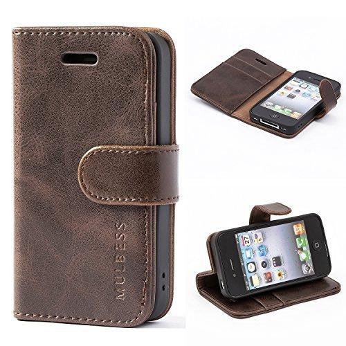 iPhone 4s Hülle Leder, [Ledertasche mit BookStyle] Flip Case Tasche Etui Schutzhülle für iPhone 4s and iPhone 4 Hülle Leder, Vintage Braun ()