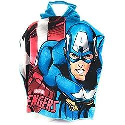 AVENGERS marvel Capa de baño–Poncho de baño (microfibra 100% poliéster–110x 55cm Capitán América–Ironman