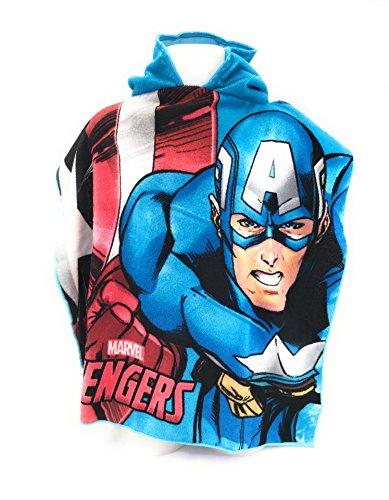 AVENGERS marvel Capa de baño-Poncho de baño (microfibra 100% poliéster-110x 55cm Capitán América-Ironman