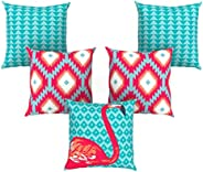 AEROHAVEN™ Set of 5 Abstract Decorative Hand Made Jute Throw/Pillow Cushion Covers - CC-106 - (16 Inch x 16 In