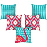 AEROHAVEN™ Set of 5 Abstract Decorative Hand Made Jute Throw/Pillow Cushion Covers - CC-106 - (16 Inch x 16 Inch)
