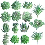 FEPITO 15 Pz Piante Succulente Artificiali Verde Uncotted Faux Flower Succulente Mini Echeveria Prese Bulk Steli per La Casa Indoor Fairy Garden Decorations