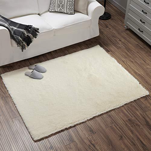 Teppich Wölkchen Hochflor-Plüsch-Teppich I Wohnzimmer Kinderzimmer Schlafzimmer Flur Läufer I rutschfeste Unterseite I Creme - 120 x 160