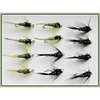 12GH Plomos de pesca de trucha de moscas–OLIVA/Negro & Plata Rib–Talla 10/12, Ninfa