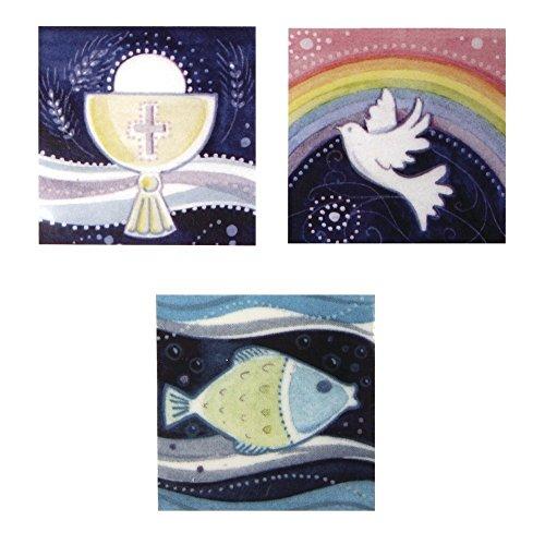 Rayher 31530000 Wachsmotiv christliche Motive, Kelch,Taube,Fisch, SB-Btl, 3 Stück, 4 x 4 cm