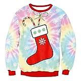 HaiDean Maglione Natale Donna 3D Stampato Digitalmente Felpa Eleganti Fashion Manica Lunga Rotondo Collo Baggy Allentato Natale Semplice Glamorous Festivo Tops Jumper Pullover Autunno Invernali