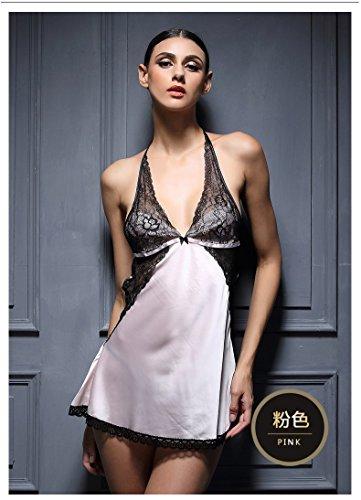 lpkone-Lingerie sexy dentelle col en v backless chemise tentation femme pendaison sangle cou accueil vêtements de soie rouge,Taille libre Powder