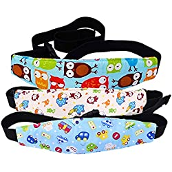 Tomkity 3 pcs Cinturón de Seguridad de Coche para Niños Sujetadores de Cabeza para Bebés Soporte de Cabeza del Cochecito