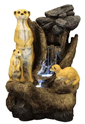 Meerkat Falls Water Feature with Lights by Primrose