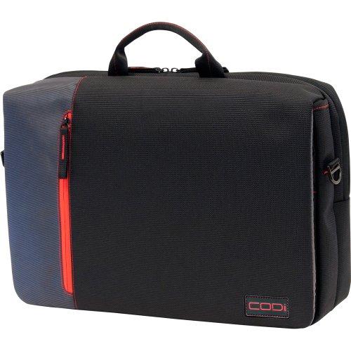 CODi Ultra Lite Hybrid Messenger für Laptops bis 15,6 Zoll (39,6 cm), Schwarz mit rot-grauen Akzenten (C2300) - Codi-laptop-tasche