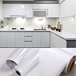 SOLDGOOD 5.5M x 0.61M PVC Back Sticky Self Adhesive Kitchen Wallpaper Rolls Stickers for Cupboard Furniture Wardrobe Door Cover White + Scraper