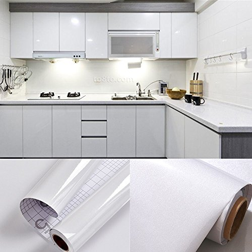 5.5M x 0.61M PVC Back Sticky Self Adhesive Kitchen Wallpaper Rolls Stickers for Cupboard Furniture Wardrobe Door Cover White + Scraper