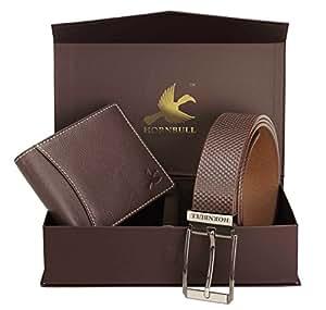 Hornbull Men's Brown Wallet and Belt Combo BW6995