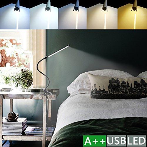 Preisvergleich Produktbild (1 in 1)LED Klemmleuchte 6W dimmbare Bettleuchte Farben Leselampe Flexible Augenschutz für Schlafzimmer Büro mit 5 Helligkeitstufen mit 5 helle USB-Kabel Inklusive