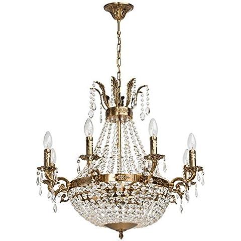 Lampadario da soffitto chic pendente colore bronzo lucido metallo cristallo in stile classico ø68cm 11-luci EXL. E14 6 x 60 W 230 V