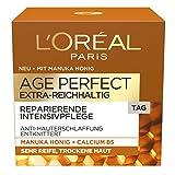 L'Oréal Paris extra reichhaltige Tagescreme für sehr trockene Haut, Age Perfect Manuka Honig Feuchtigkeitspflege, 50ml