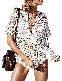 iBaste Boho Chic Blusón Tejido de Punto Encaje Hueco Cobertura Color Sólido Croché Blusa del Bikini