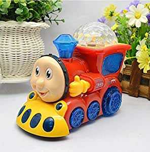Q&K Go Musical Colorful Cartoon Train Engine with 4D Light Toy for Boys and Girls