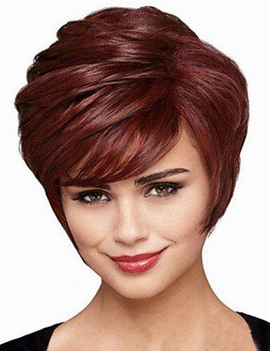 Perruques de mode Pratique et confortable l'Europe et les États-Unis vendent comme des petits pains à court brun foncé perruque cheveux raides