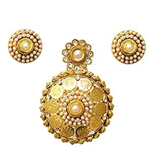 Adiva Bridal Jwelleries White Metal Alloy Jewellery Set with Pendant And Earrings For Women