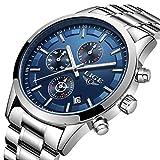 LIGE Relojes Hombre Acero Inoxidable Impermeable Analógico de Cuarzo Hombres Reloj Cronógrafo Plateado Azul Relojes Hombre Vestir