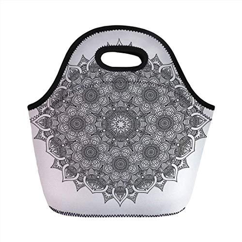 Portable Bento Lunch Bag,Mandala Decor,Flower and Leaf Old Arabic Ottoman Mandala Chart Life Web Meditation Print,Black White,for Kids Adult Thermal Insulated Tote Bags -