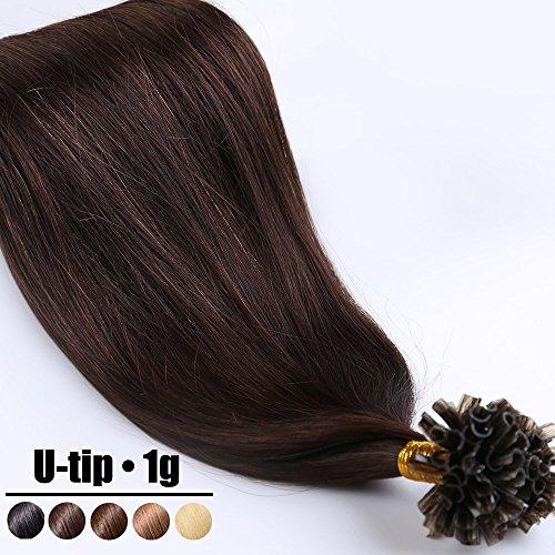 Extension capelli veri cheratina ciocche 1 grammo/ciocca pre bonded u tip allungamento 100% remy human hair - 50cm 50g #02 marrone scuro