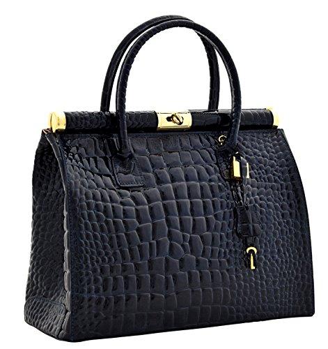 GIADA KROKO Sac Portés Main Épaule Vrai Cuir Laqué Design Crocodile Fabriqué Italie Femme Bleu foncé