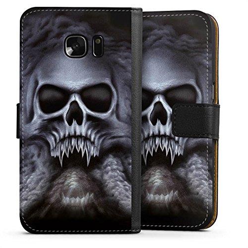 mpatibel mit Samsung Galaxy S7 Leder Flip Case Ledertasche Totenkopf Schädel Skull ()