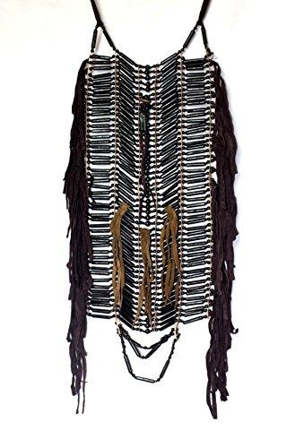 Indianer BRUSTPANZER XXL 25 x 60 cm. echte Knochen Bone Hairpipes MASSIV echte Knochen SCHWARZ Fotoshooting Fasching Halsschmuck