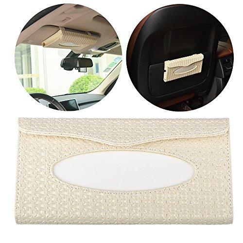 Shizak auto parasole tessuto scatola tovagliolo di carta Titolare borsa porta tovaglioli a sospensione stile tessuto inclusi (crema)