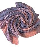 Minetom Unisex Neue Koreanische Literatur Temperament Wilden Warme Farbe Karierten Wollschal (Rosa Grau)