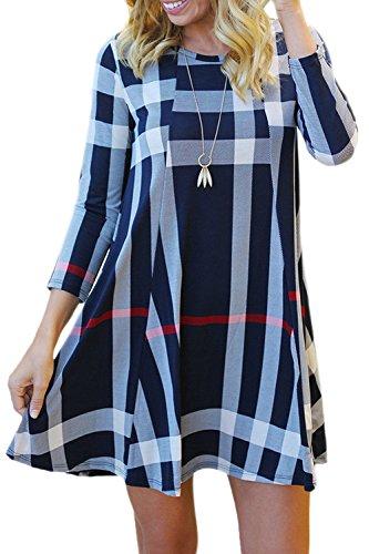 La Mujer Manga 3/4 De Una Linea De Vestido De Túnica Estampado De Cuadros Sueltos De Camisas Navy L