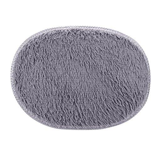Grau Ovale Matte (Teppiche & Matten,Moonuy Oval Anti-Skid Fluffy Shaggy Area Rug Home Bedroom Bathroom Floor Door Mat Rutschfest Waschbar Badteppich (30*50cm, Grau))