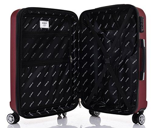 TSA-Schloß 2080 Hangepäck Zwillingsrollen neu Reisekoffer Koffer Trolley Hartschale XL-L-M(Boardcase) in 12 Farben (Weinrot, Set) - 7