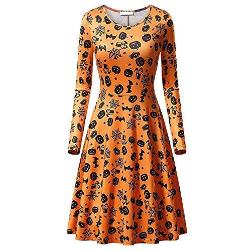 en Kostüm Halloween Kleider mit Kürbis und Schädel Druckkleider Damen Skaterkleid Rundhals Fattern Stretch Basic Kleider Knielang Partykleider Abendkleider ()