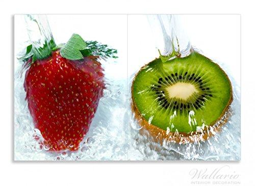 Wallario Herdabdeckplatte / Spritzschutz aus Glas, 2-teilig, 80x52cm, für Ceran- und Induktionsherde, Motiv Frische Früchte übergossen mit Wasser II