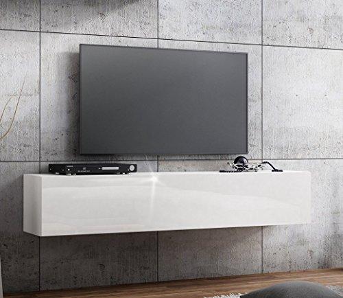 TV Lowboard Hängeboard HOCHGLANZ Board Schrank Tisch 160cm (korpus matt weiß+front weiß hochglanz)