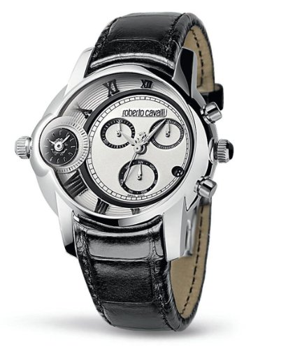 Roberto Cavalli Men's Watch R7271649015 In Collection Caracter, Chrono, Silver Dial and Black Strap