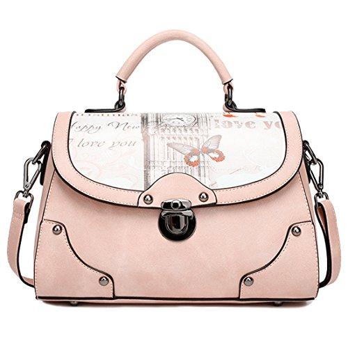 YYW  Leather Handbags, Damen Henkeltasche, rosa - hot pink - Größe: One Size (Hot Modeschmuck Designer)