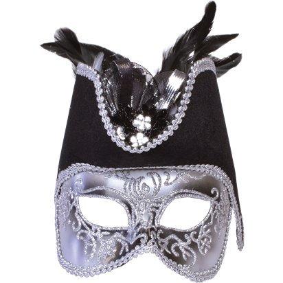 Silber Piraten Maskerade Maske - Herren Silvester Weihnachten Maske - Erwachsene One Size