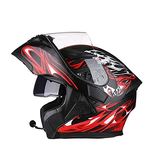 Full face Klapphelm Integral-Helm Motorrad-Sommerhelm Integralhelm Bluetooth-Helm Kann Mit Dem Bluetooth-Headset Black and Red Magic Verwendet Werden DOT-Zertifiziert (Base-bluetooth-headset)