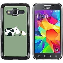 Eason Shop / Premium SLIM PC / Aliminium Casa Carcasa Funda Case Bandera Cover - Cow & Chicken Illustration - For Samsung Galaxy Core Prime