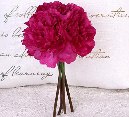 Ycjcg 1 bouquet di 5 teste di fiori di peonia di seta artificiale fiori finti di alta qualità ortensia per la casa festa di nozze san valentino decor-3
