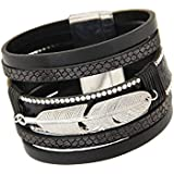 Bracelets, Oyedens Mode Plume Unisexe Cuir Multicouche Charme MagnéTique Bracelet Rigide, Noir